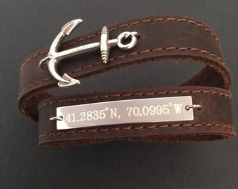 Men's Bracelet - brown leather bracelet with silver anchor - Mens Jewelry - Anchor Jewelry - Gift for Him - engraved bracelet -name bracelet