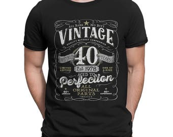 40th Birthday Gift For Men and Women born in 2018 - Vintage 1978 Aged To Perfection Mostly Original Parts T-shirt Gift idea.  V-40-1978