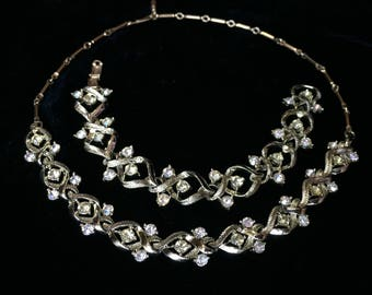 Signed CORO set 1950s Necklace and bracelet /Vintage Jewelry / Wedding / Prom Ballroom Pageant / Bridal Formal