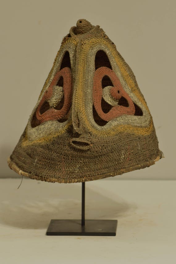 Papua New Guinea Mask Helmet Baba  Abelam Tribe Yam Headdress Ceremonial Woven Mask