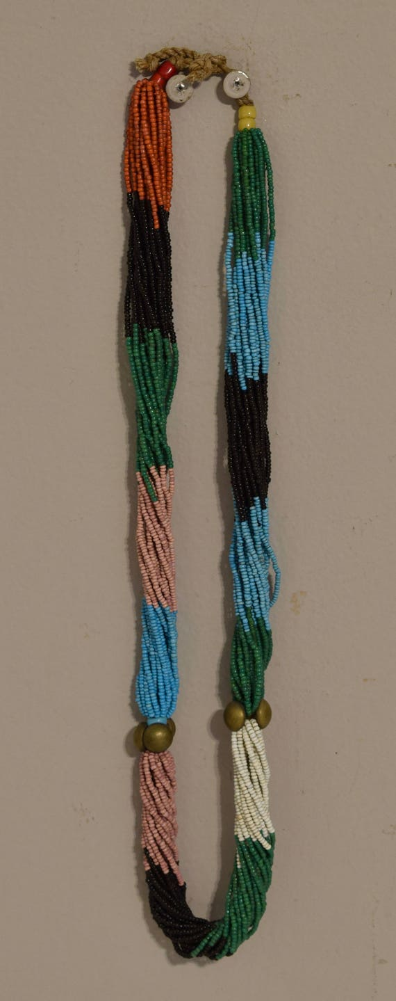 African Zulu Pink Black Blue Twisted Strand Necklace South African Beaded Zulu Necklace