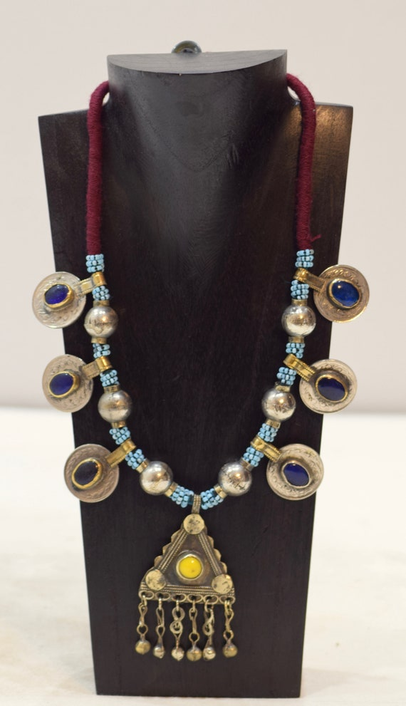 """Necklace Middle East Blue Beaded Silver Pendant Kuchi Necklace 28"""""""