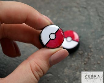 Pair Pokeball Plugs image ear wood gauges 4,5,6,8,10,11,12,14,16,18-22,24,26-60mm;6g,4g,2g,0g,00g;1/4,5/16,3/8,1/2,9/16,5/8,3/4,7/8,1 1/4,1""