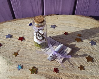 Mini Faery Bottle, Miniature Fae Wish, Fairy Glitter, Good Fortune Scroll, Beltane Offering, Pagan Altar, Message in a Jar, Star Charm