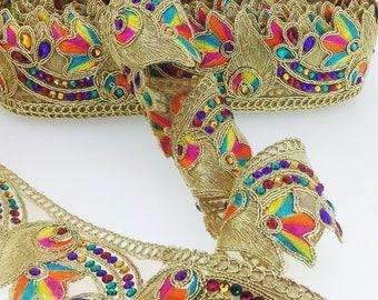 Fancy Multi color Diamante Beaded Gold  Indian Lace Trim 4.5 cm wide Ethnic Ribbon Craft Sari Border. Trim by  1 Yard