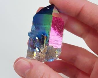 Technicolour Terrific - Smokey titanium/rainbow aura quartz