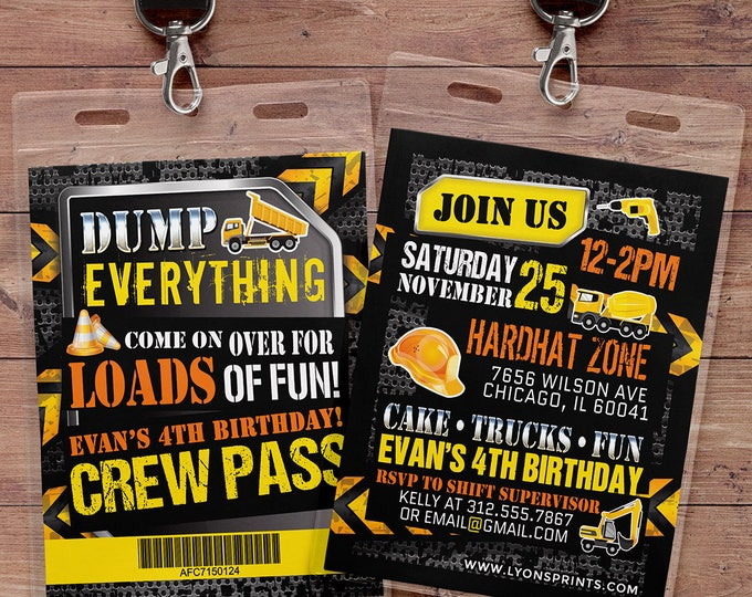 Construction Birthday Invitation Construction Birthday Party Construction Invitation Construction Party Invitation Dump Truck Birthday