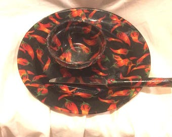 Fabric Backed Plate, Knife and Small Bowl Black with Red Chili Peppers