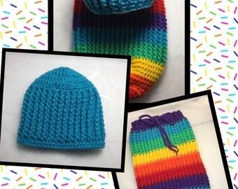 Littlebits Newborn Baby Crocheted Rib-Stitched Rainbow Swaddle Sack & Blue Beanie - Handcrafted in Australia RTS