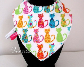 Colorful kitties and Terry cotton bandana bib