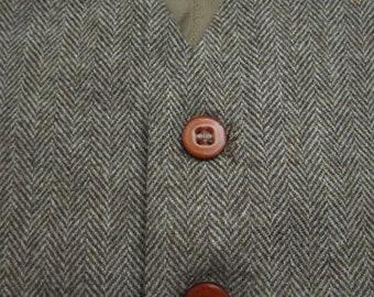 Vintage Herringbone Tweed Brown vest sz 42 ~ WEDDING