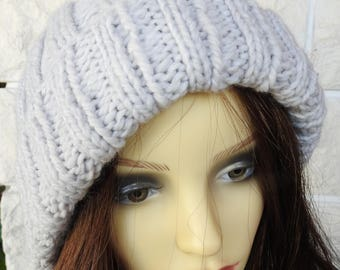 Hand Knitted Women's Two Style Light Grey Winter Hat With An Orange And Brown Pompom - Free Shipping