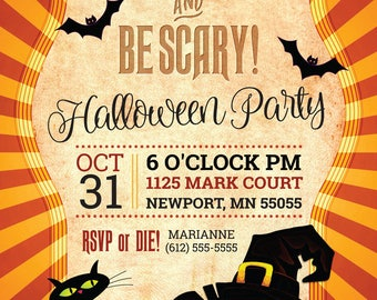 "Halloween Party Invitation, Eat Drink and Be Scary, 5.5"" x 8.5"", Halloween Party, Invitation, Customize and Make it Your Own"