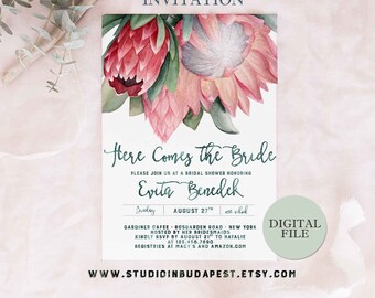 Protea Bridal Shower invitation, PRINTABLE Bachelorette party invitation, Watercolor Bridal shower, wedding shower invitation