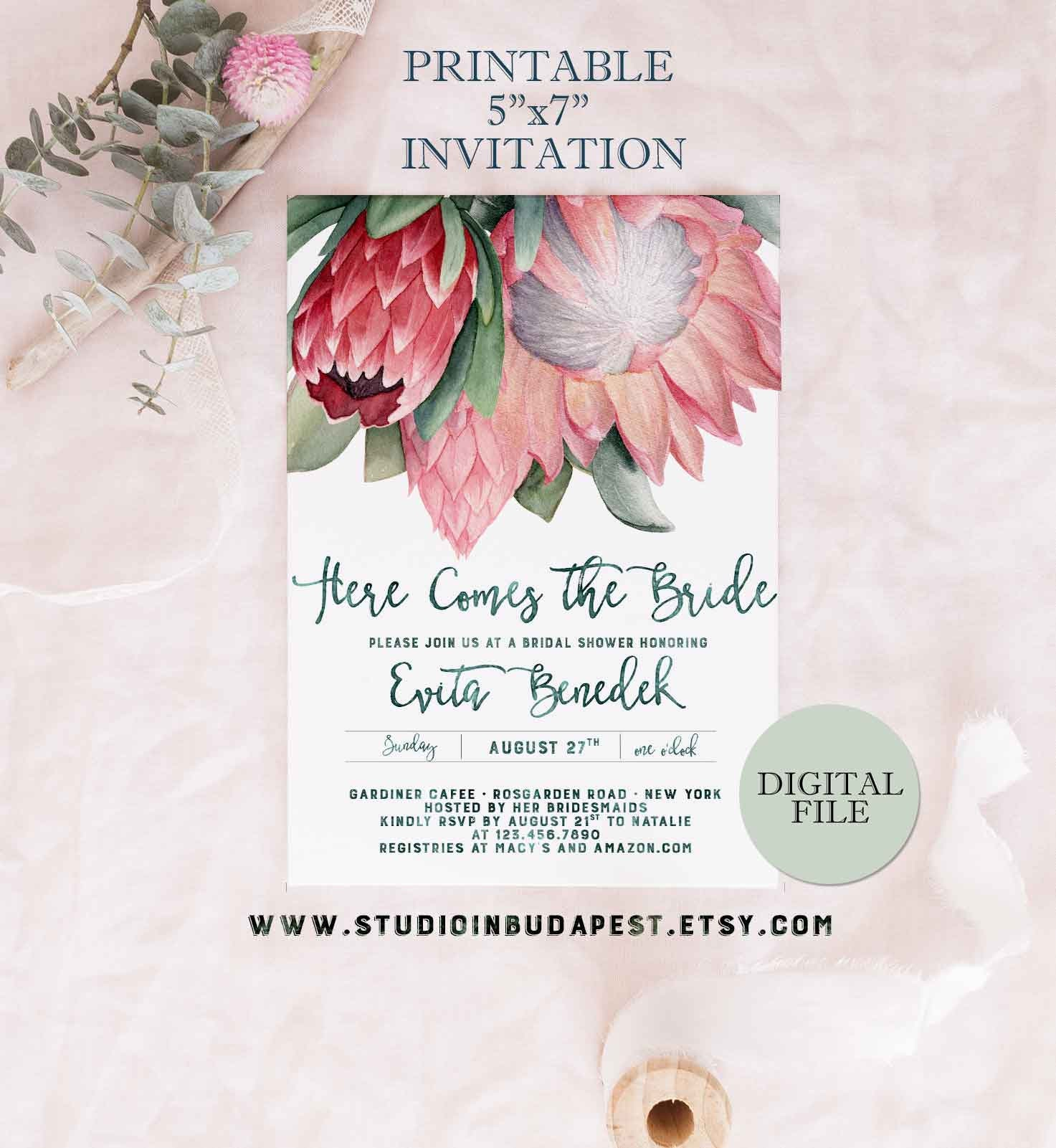 protea bridal shower invitation printable bachelorette party With wedding invitations with protea