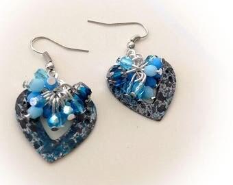 Earrings, blue, heart, Czech glass, silver metal.