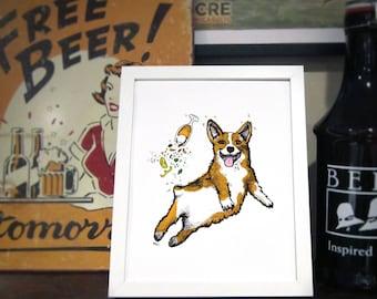 Corgi Beer Art Print, Corgi Wall Art, Beer Bar Art, Brewery Art / 8x10 Print