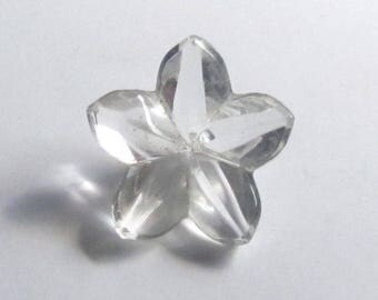 Clear Glass Realistic Flower Button