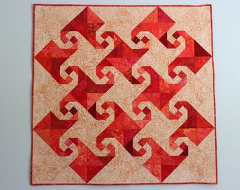 "Rich Red, Beige and Brown Batik ""Snail's Trail"" Wall Hanging, Handmade Patchwork Lap Quilt, 48"" x 48"""