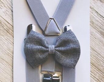 Rustic Burlap Ring Bearer Suspenders Grey Burlap Bow Tie Suspenders Rustic Wedding Ring Bearer Outfit Boys Grey Boy Suspender Sets
