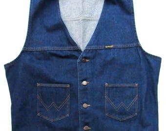 Vintage WRANGLER Denim Vest ~ XL ~ Western ~ Biker ~ Ranch ~ Work Wear ~ Made in USA ~
