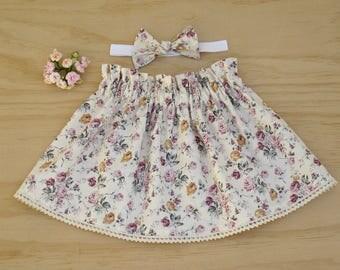Girls skirt, Girls floral skirt, Girls cotton skirt, Elastic waist skirt, Girls paper bag skirt, Girls clothing set, Vintage look skirt