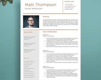 Professional Resume Template, Creative Resume Template, Professional CV Template, Modern Resume Template for Word & Pages. Resume With Photo