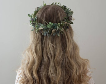 Greenery Crown- Eucalyptus Crown- Dried Flower Crown- Hair Vine- Sage Headband- Bridal Crown- Organic Wedding Headpiece- Green Halo