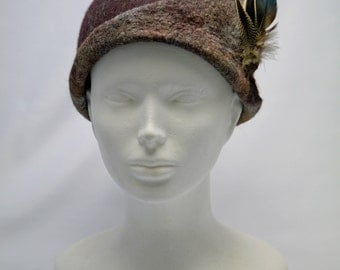 Brown Hat with Feathers, Ladies's Felted Hat, Woolen Hat with Feathers Detail, Women's Winter Hats, Unique Felting Hat