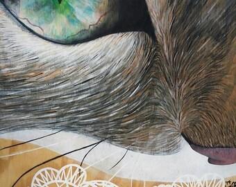 ART PRINT / Diamond-Eyed Jack / Cat Eye / Grateful Kitty / Painting Art Print