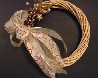 Gold Christmas wreath. Door wreath. Wall wreath. Christmas wreath. Wicker wreath.