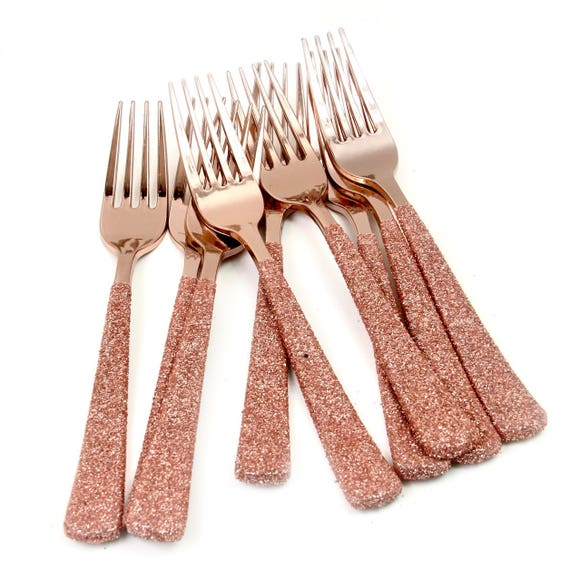 Rose Gold Plastic Fork, Rose Gold Glitter Silverware Rose Gold Utensils Disposable Party Silverware Decorative Tableware Table Settings
