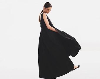 Plus Size Maxi Dress, Avant Garde Dress, Plus Size Formal Dress, Black Dress, Summer Dress, Open Back Dress, Low Back Dress, Gothic Clothing