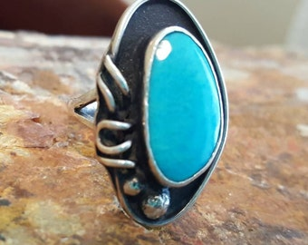 Native American Turquoise and Sterling Silver Navajo Ring Size 7