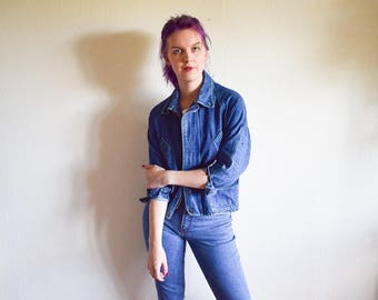 Vintage Denim Jacket, 80s Blue Denim Jacket Medium, Blue Jacket 90s Clothing
