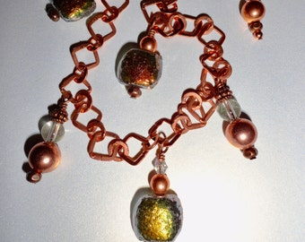 Unique Italian Glass Copper necklace, with crystal, quartz and copper accents. Copper Chain adjusts approximately 18 to 20 inches.