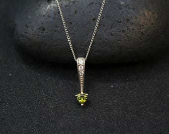 Sterling Silver and Green CZ Modern Heart Pendant, Sterling Silver Green CZ Necklace, Minimalist Green Gemstone Heart Necklace