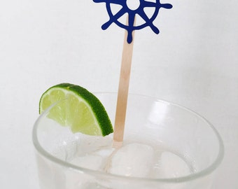 15 Ship's Wheel Swizzle Sticks - Nautical - Bridal Shower - Birthday - Baby Shower - Last Sail Before the Veil - Ocean - Boat - Red and Navy