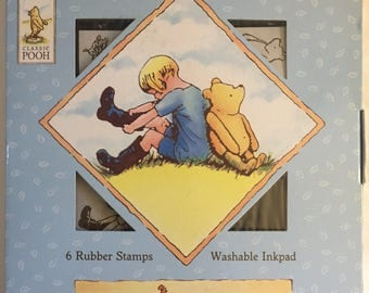 Classic Winnie the Pooh 6 Rubber Stamp Set Pooh and Friends Set Like New