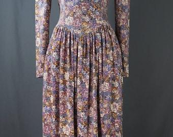 Vintage 80's Jessica McClintock Gunne Sax Dress Lace & Floral, Prairie, Country, Victorian