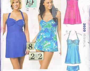 Loose, Empire Waist Halter Swimsuit, Tankini Sewing Pattern/ Kwik Sew 3609 Strapless Flared Bathing Suit, UnCut/ Size 8 10 12 14 16 18 20 22