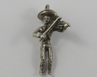 Mariachi Band Violin Player Sterling Silver Vintage Charm For Bracelet
