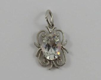 Clear April Birthstone Sterling Silver Vintage Charm For Bracelet