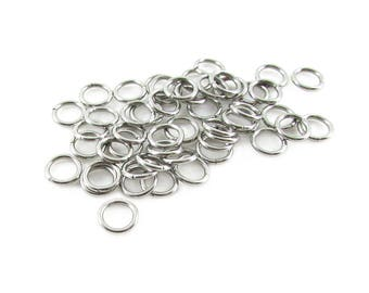 50pcs, 7mm Stainless Jump Rings, 18ga, Stainless Steel Jump Rings, Stainless Steel Jumprings Open Round Jump Rings Connectors, Chainmaille