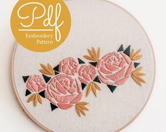 Geometric Florals - Embroidery pattern - PDF Digital Download