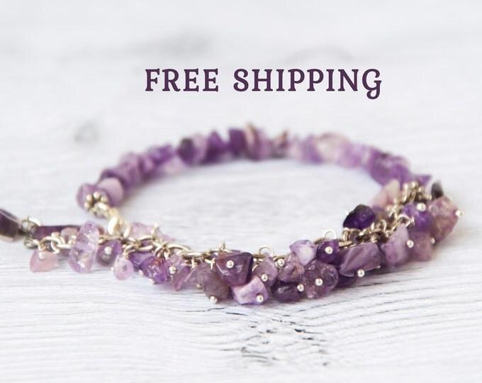 Mom bracelet birthstone, Genuine amethyst bracelet, Birthstone bracelet for grandma, Amethyst beaded bracelet, Amethyst stone bracelet