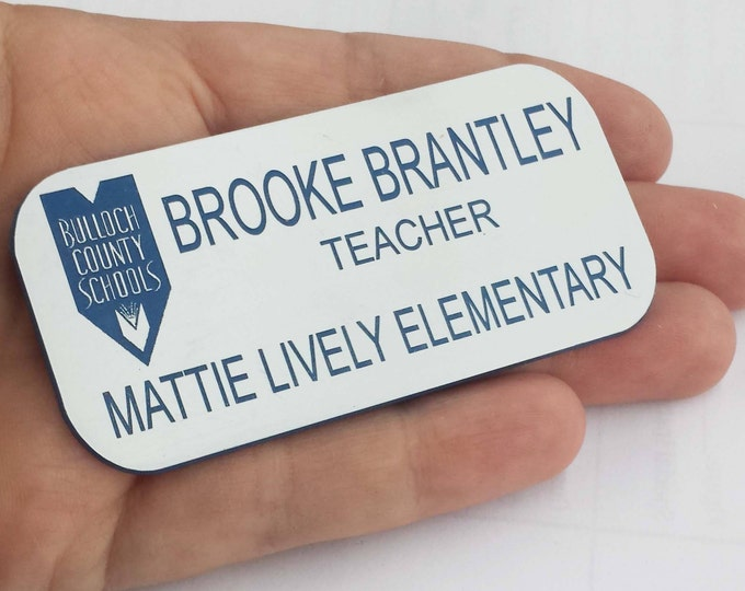 """Featured listing image: Plastic NameTag - 1.25"""" x 3"""" -Includes Name, Title,Company Name & Logo-Magnetic Back-Variety of Colors -Laser Engraved -Free Personalization"""