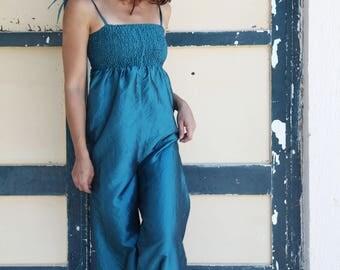 Blue vintage silk taffeta shiny jumpsuit.one/size