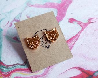 Laser Cut Gold Mirror Acrylic Geometric Cat Earrings / Low Poly / Stainless Steel Posts / Cat Jewelry / Minimalist / Stud Earrings