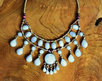 White Jade Cassidy Bib Necklace - Statement Necklace - Unique Necklace - Ethnic - Kuchi Afghan Tribal - Hippie- Bohemian - Gypsy - Nomadic